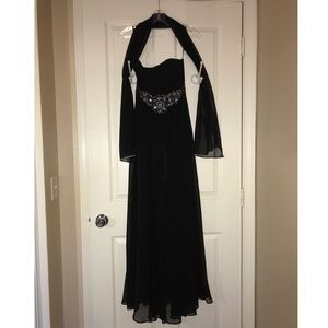 Strapless Black & Silver Prom Dress With Shawl XS